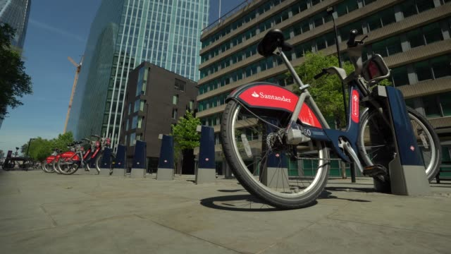 docked santander bikes as cycling has increased since the easing of lockdown rules in the uk on may 20 2020 in london england the british government... - moored stock videos & royalty-free footage