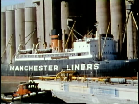 1963 montage dockers at work in the city's docklands / chicago, united states / audio - cereal plant stock videos & royalty-free footage
