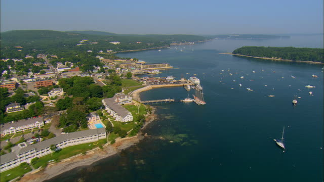 AERIAL, Docks and harbor / Bar Harbor, Maine