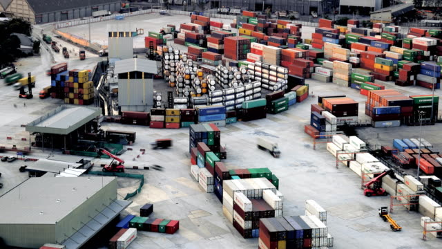 Docks and shipping containers, Time lapse
