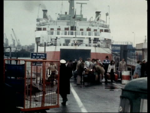 QEII Docks Dispute QEII Southampton MS Ferry Townsend Thoresen MS Passengers off ferry with luggage ZOOM TS Ditto PAN EKTA 16mm Jackson 33secs 20 1/2...