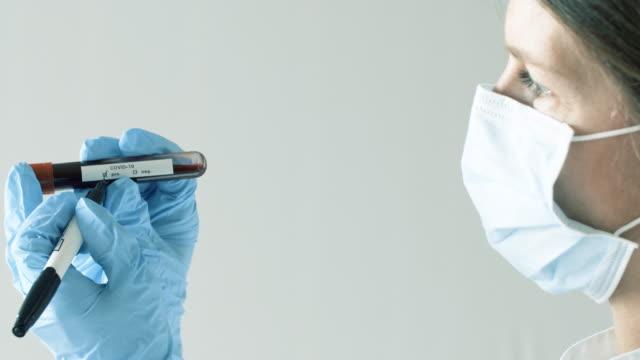 vídeos de stock, filmes e b-roll de exame de sangue médico e corona - examining