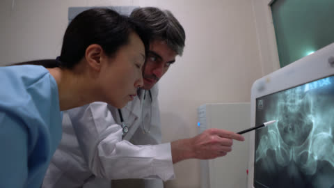 doctor and nurse looking at a pelvic xray pointing at the screen - x ray image stock videos & royalty-free footage