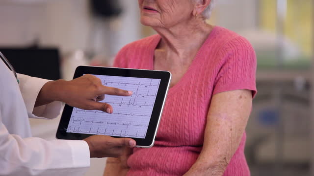 MS Doctor Discussing EKG with Senior Patient in Hospital / Richmond, Virginia, USA