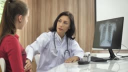 Doctor examining to patient on Stomach