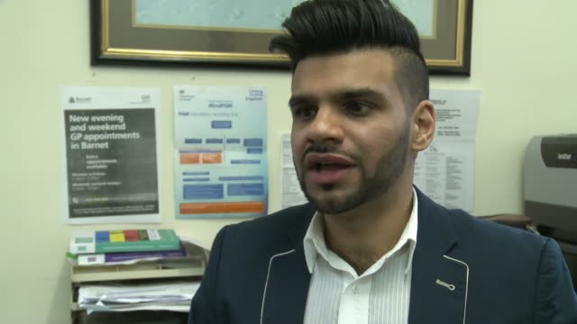 vídeos de stock, filmes e b-roll de doctor from north london to travel to bangladesh to help rohingya refugees england london edgware watling medical centre int dr mohammed khaki... - itv london tonight