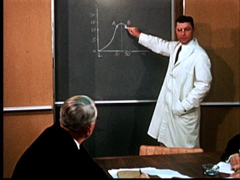 1960 film montage ms doctor in white lab coat standing at blackboard pointing at curve on graph/ ms men in suits sitting at conference table/ audio - speech stock videos & royalty-free footage