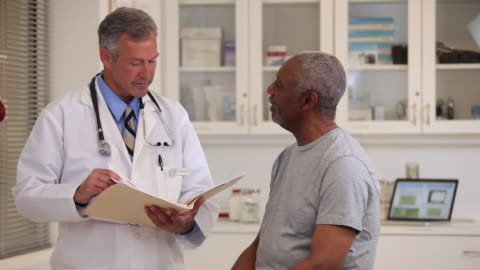 ms doctor looking at records, talking to senior patient in medical office / richmond, virginia, usa - patient stock videos & royalty-free footage