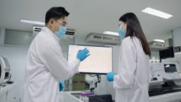 Doctor men and women discussed. A blood test with computer equipment.