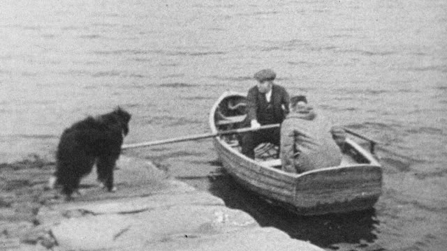 1944 MONTAGE Doctor traveling by rowboat to see a patient / Scotland, United Kingdom