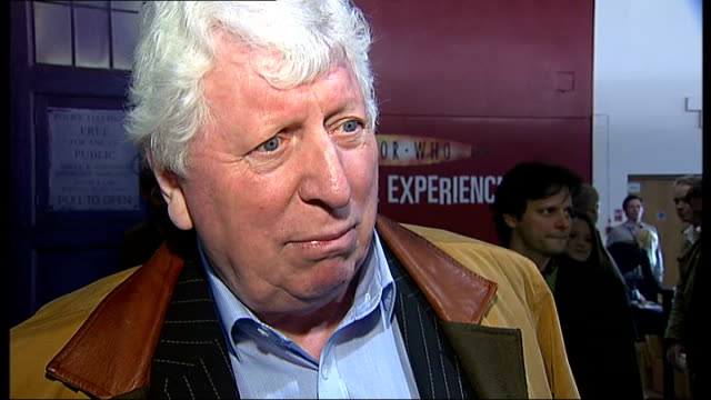 'doctor who' exhibition opens in london tom baker interview sot - doctor who stock videos & royalty-free footage