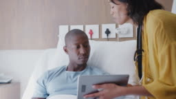 Doctor With Digital Tablet Visiting And Talking With Male Patient In Hospital Bed