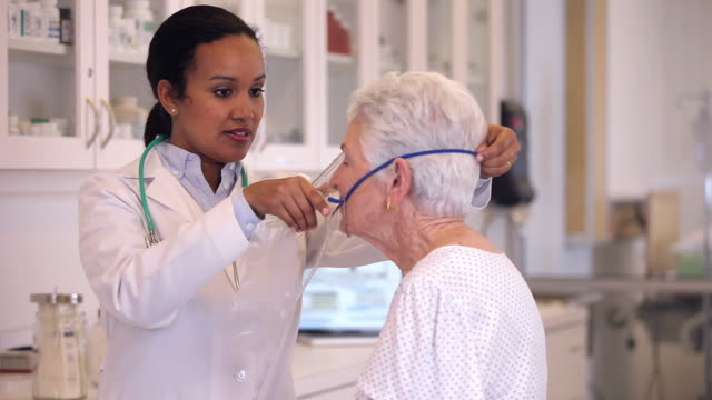 MS Doctor With Senior Patient Testing Lung Function/ Richmond, Virginia, USA