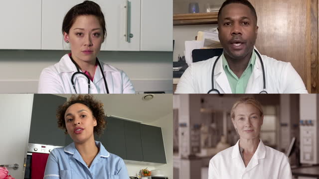 doctors and scientist on video call with medical colleagues working from different locations, meeting during coronavirus pandemic - four people stock videos & royalty-free footage