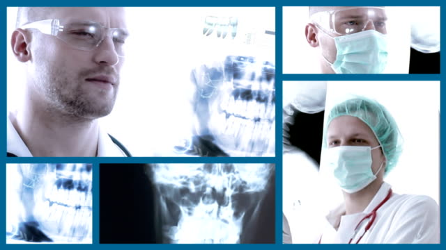 doctors examining x-ray image. split screen. - medical clinic stock videos and b-roll footage