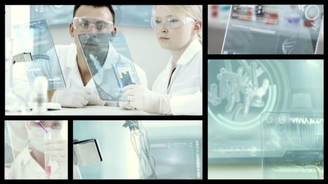 vídeos de stock, filmes e b-roll de doctors in labolatory.  split screen - bolha de replicação
