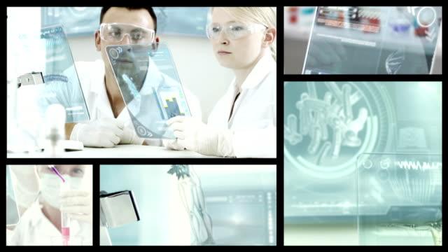 Doctors in labolatory.  Split screen