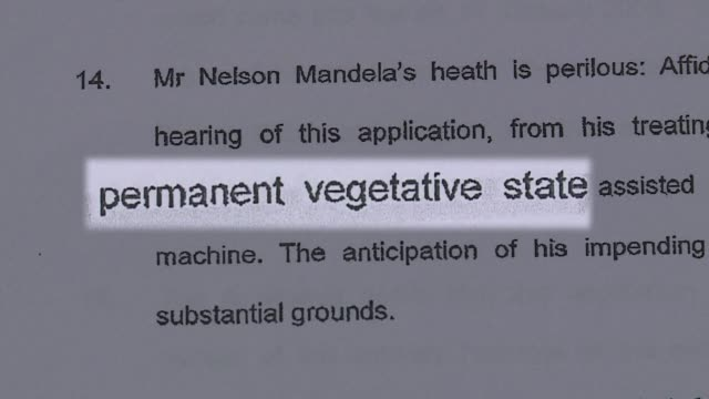 vídeos de stock, filmes e b-roll de doctors treating nelson mandela said he was in a permanent vegetative state and advised his family to turn off his life support machine according to... - processo vegetal