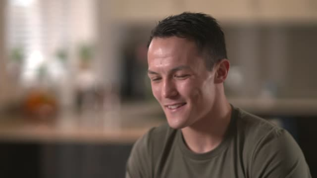 documentary about world featherweight champion boxer josh warrington england yorkshire leeds int josh warrington interview sot reporter - interview stock videos & royalty-free footage