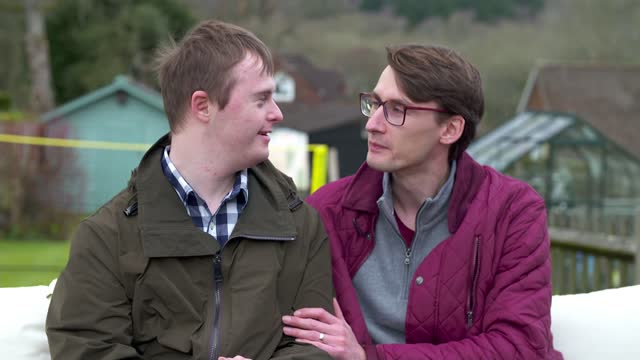 documentary exploring what it means to have a sibling with down's syndrome; england: ext alex bourne and nicholas bourne interview sot - news not politics video stock e b–roll