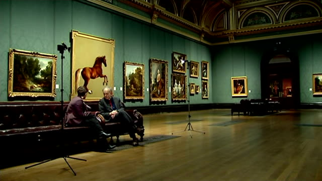 documentary film gives new perspective on the national gallery; england: london: national gallery: int frederick wiseman set up shot with reporter /... - frederick wiseman stock videos & royalty-free footage