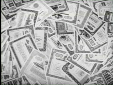 b/w ms documents of banking invesment , united states / audio - stock certificate stock videos & royalty-free footage