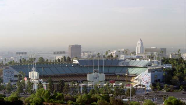 WS ZI Dodger Stadium with Los Angeles City Hall in background, RED R3D 4K, 4K, 4KMSTR