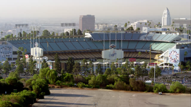 MS Dodger Stadium with Los Angeles City Hall in background, RED R3D 4K, 4K, 4KMSTR