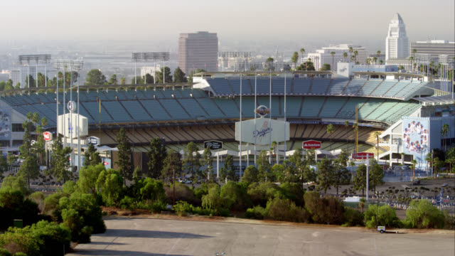 MS ZI Dodger Stadium with Los Angeles City Hall in background, RED R3D 4K, 4K, 4KMSTR