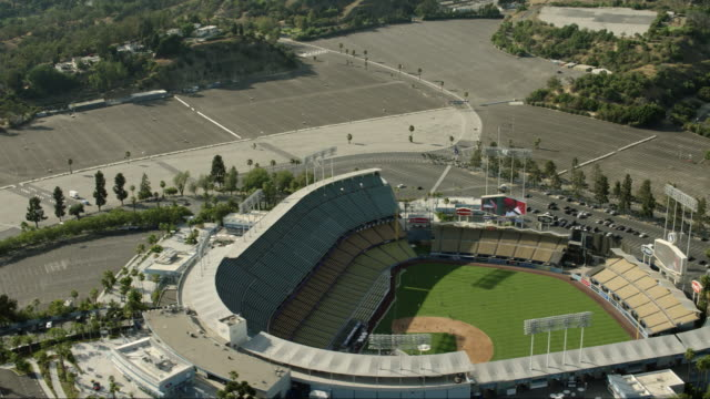 Dodgers Stadium in Los Angeles, California, seen from an aerial perspective.