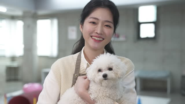 vídeos de stock, filmes e b-roll de dog cafe - dog owner looking at camera with smile while embracing puppy - bichos mimados