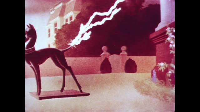 dog gets struck by lightning after kissing metal statue dog - elektrizität stock-videos und b-roll-filmmaterial