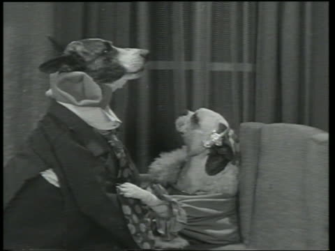 B/W 1930 dog in suit + dog in robe hugging + kissing / fade out / Dogway Melody