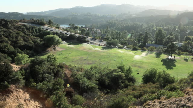 dog park above hollywood reservoir, los angeles county, california - off leash dog park stock videos & royalty-free footage