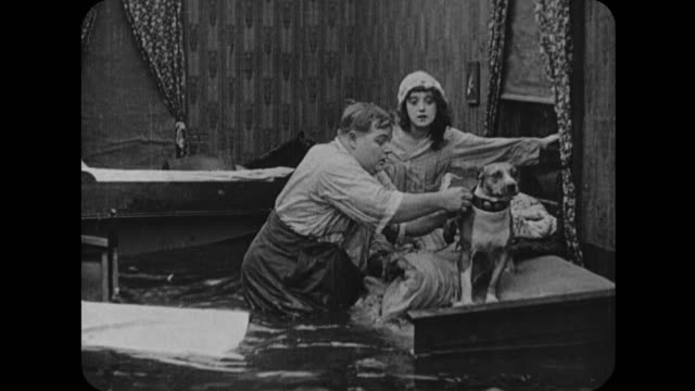 1916 dog takes message from floating house to farmhouse - 1916 stock videos & royalty-free footage
