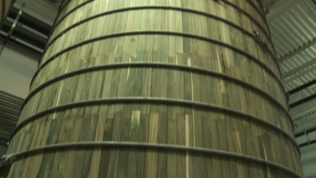 dogfish head large wooden barrel for brewing - dogfish stock videos & royalty-free footage