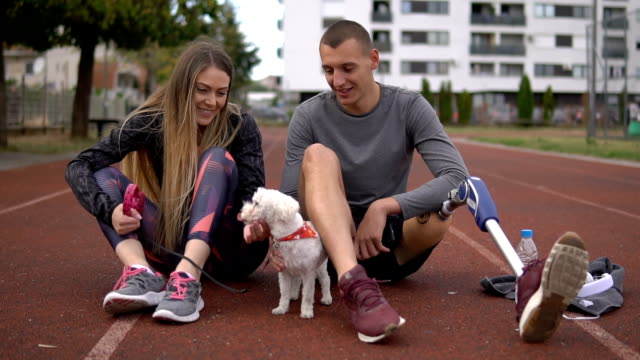 doggy let's go on a run - prosthetic equipment stock videos & royalty-free footage