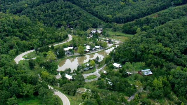 Dogpatch - Old Abandoned theme Park  - Aerial View - Arkansas, Newton County, United States