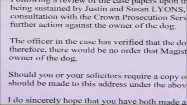 vídeos de stock, filmes e b-roll de dartford child savaged by pit bull terrier; int close shot detail of letter to susan lyons advising that no action is being taken against the dog's... - terrier