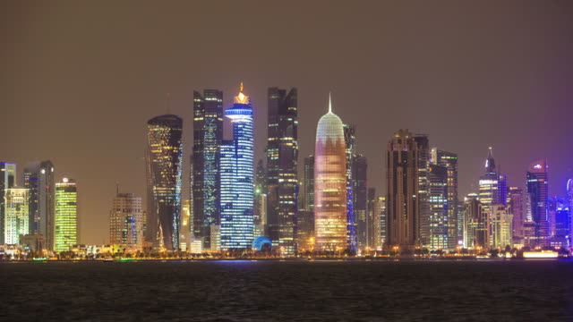 doha at night - qatar stock videos & royalty-free footage