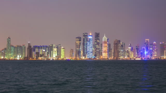 doha at night - doha stock videos & royalty-free footage