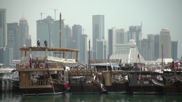 doha boat - qatar stock videos & royalty-free footage