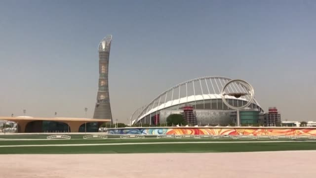 doha is getting ready to welcome athletes from all over the world for the iaaf world athletics championships - championships stock videos & royalty-free footage