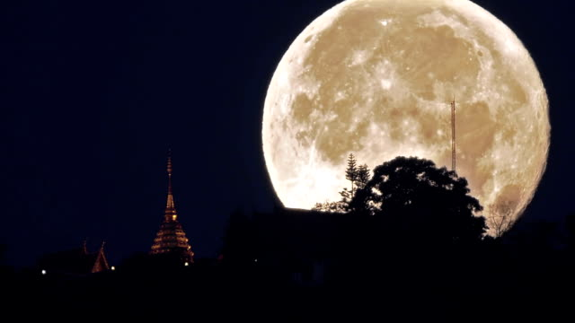 Doi Suthep Temple with super moon