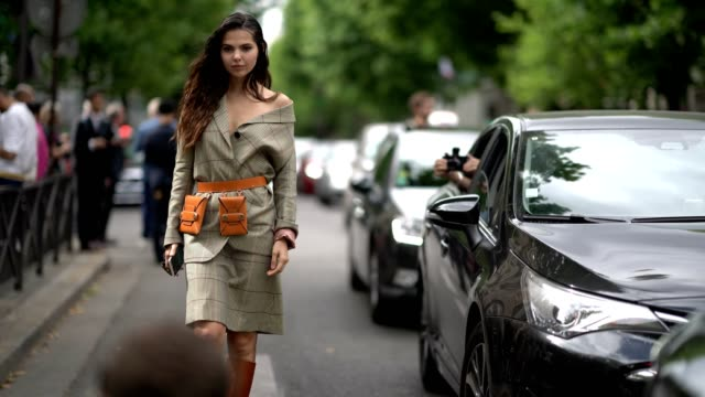 doina ciobanu wears a blazer jacket a brown belt a skirt brown leather boots outside the paul smith show during paris fashion week menswear... - skirt stock videos & royalty-free footage