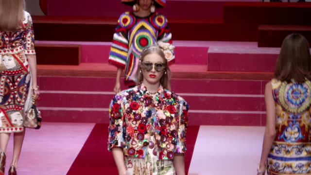 dolce gabbana ss18 runway on september 23 2017 in milan - runway stock videos & royalty-free footage