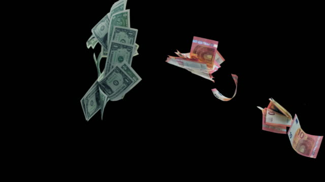 slo mo dollar and euro bills colliding in the air - american one dollar bill stock videos & royalty-free footage