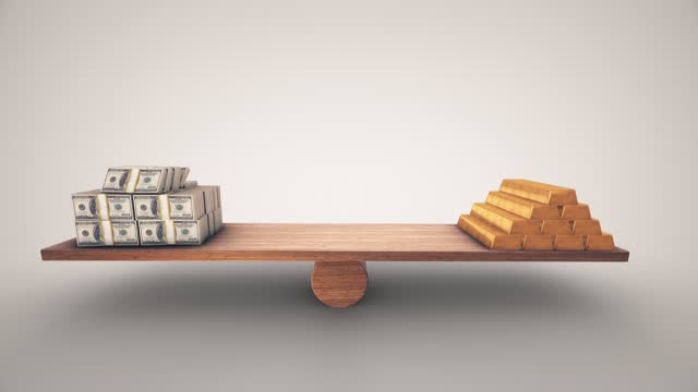 100 dollar bales and gold bullion balancing on a wooden seesaw. animation slows down on both sides you can stop on the side you choose the concepts of global economy finance business balance exchange rate target scales quantify comparison time money - solid stock videos & royalty-free footage