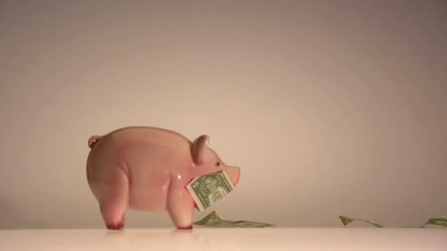 us dollari banca note in un piggybank vista laterale volo - banconota da 10 dollari statunitensi video stock e b–roll