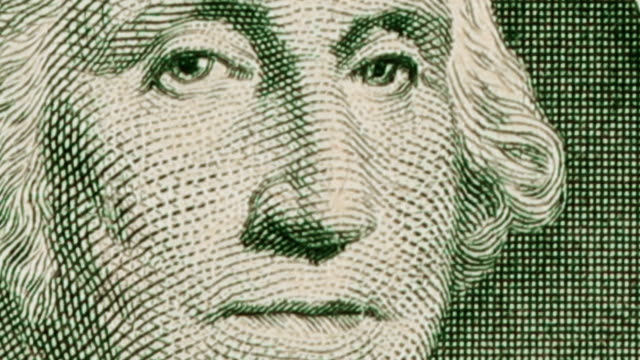 vídeos de stock e filmes b-roll de $1 dollar bill currency of the united states of america - george washington